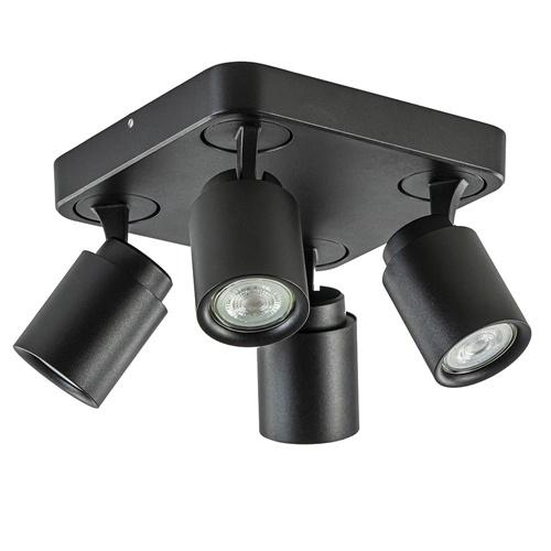 Plafondspot Razza 4L vierkant zwart gu10