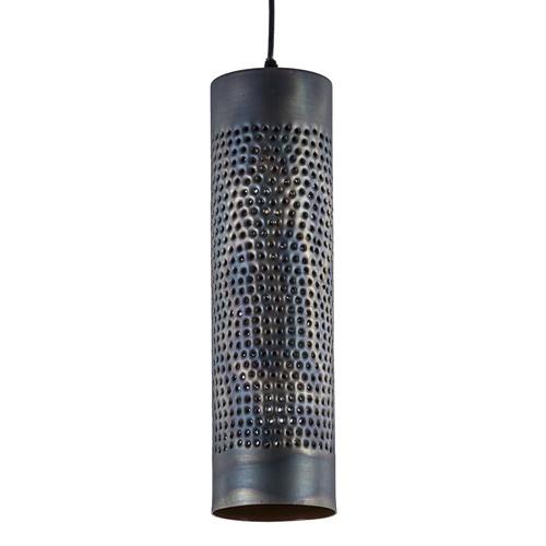 Metalen hanglamp cilinder bruin gevlamd