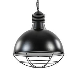 Industriële hanglamp mat zwart met grill