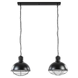 Stoere 2-lichts eettafelhanglamp zwart
