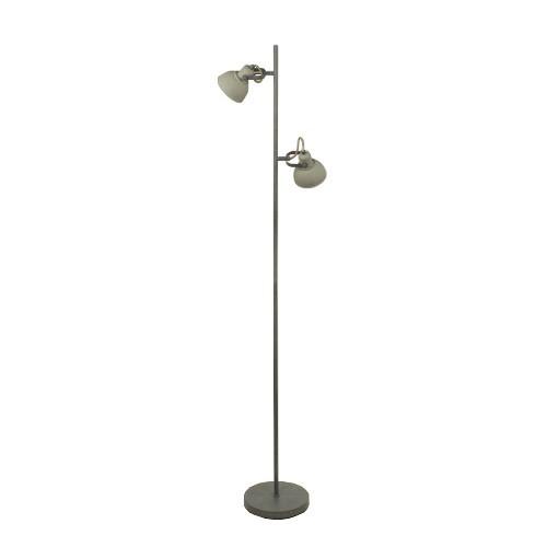 Grijze industriele vloerlamp 2 lichts straluma for Industriele vloerlamp