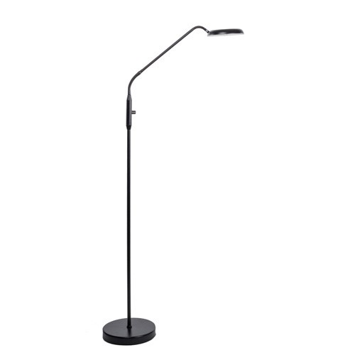 Zwarte leeslamp staand LED dimbaar