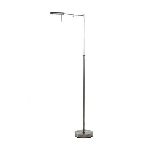 Moderne vloer-leeslamp staal met dimmer
