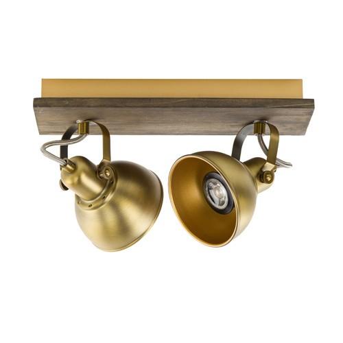Bronzen opbouwspot 2-lichts met hout
