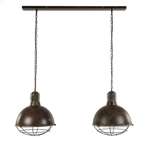Roestbruine eettafelhanglamp 2-lichts