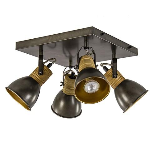 Vierkante spot zwart staal/goud met hout