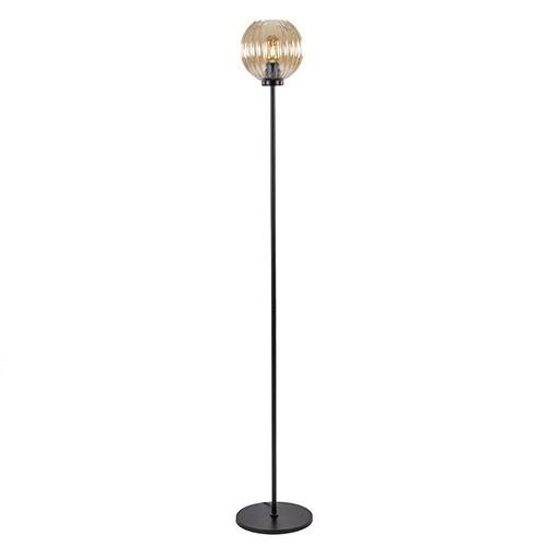 Glazen vloerlamp zwart met amber glas