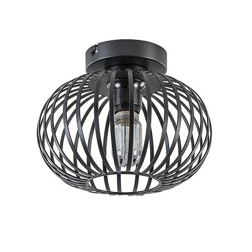 Kleine draad plafondlamp zwart hal/toilet