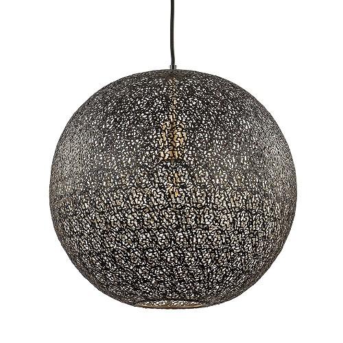 Metalen hanglamp bol zwart/goud