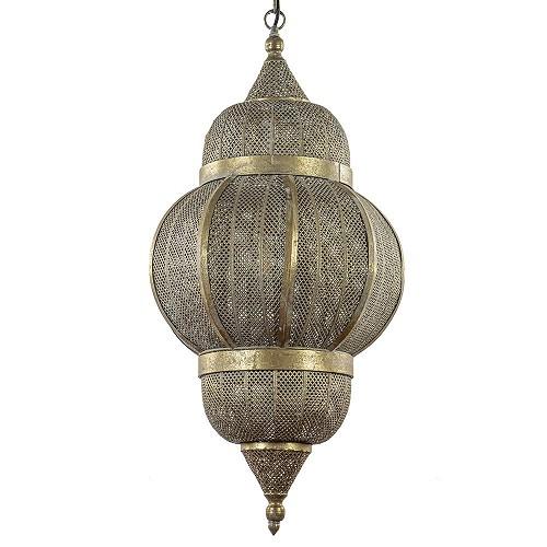 Grote lantaarn hanglamp antiek goud