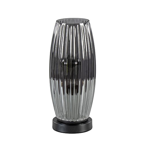 Smoke glazen tafellamp met zwarte voet