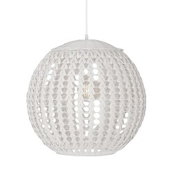 Witte bol hanglamp Tovano hout