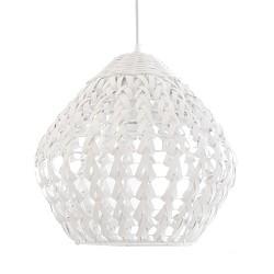 Gevlochten houten hanglamp wit