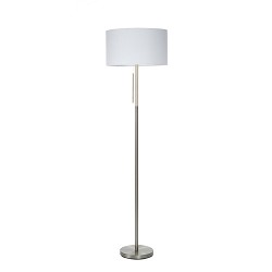 **Moderne stalen vloerlamp met hout