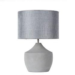 *Betonnen tafellamp met grijs/zilver kap