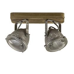 Plafondspot metaal met hout 2-lichts