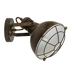Metalen wandlamp industrieel roest-bruin
