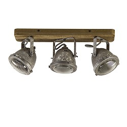 Stalen plafondspot met hout  3-lichts