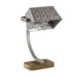 Industriële tafellamp ijzer met hout
