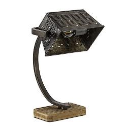 Zwart metalen tafellamp hout industrie