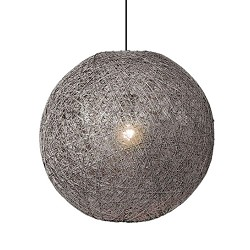 *Abaca hanglamp landelijk grijs 45 cm