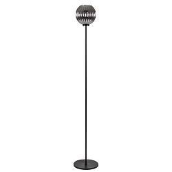 Zwarte vloerlamp met smoke glazen kap