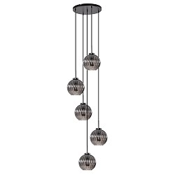 Luxe 5-lichts hanglamp smoke glas vide