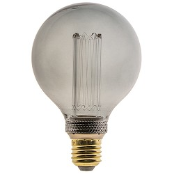 Led 5w e27 globe 95mm smoke 3-standen dim.