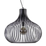 Grote metalen draad hanglamp zwart 60cm