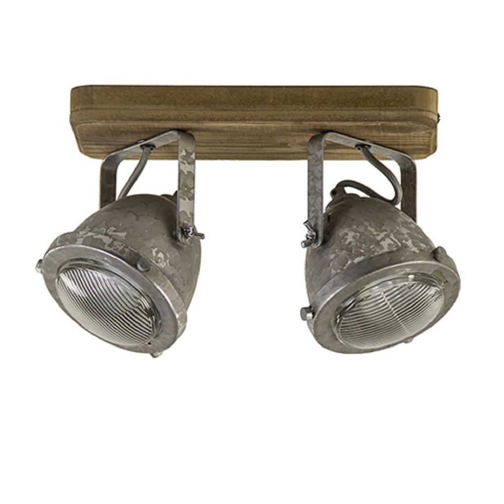 Plafondspot 2-lichts robuust hout/zink