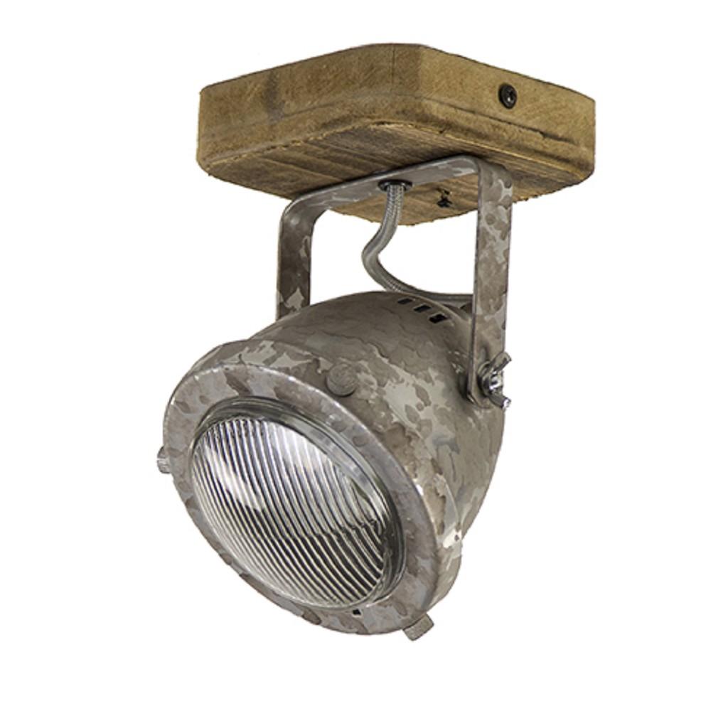 Industriele wand/plafondspot hout metaal