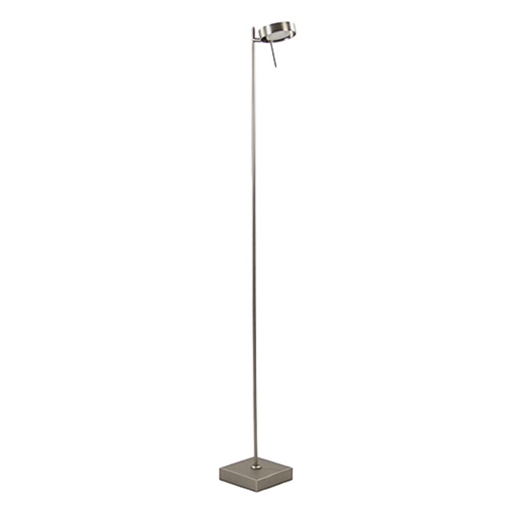 Staande leeslamp nikkel met pushdimmer