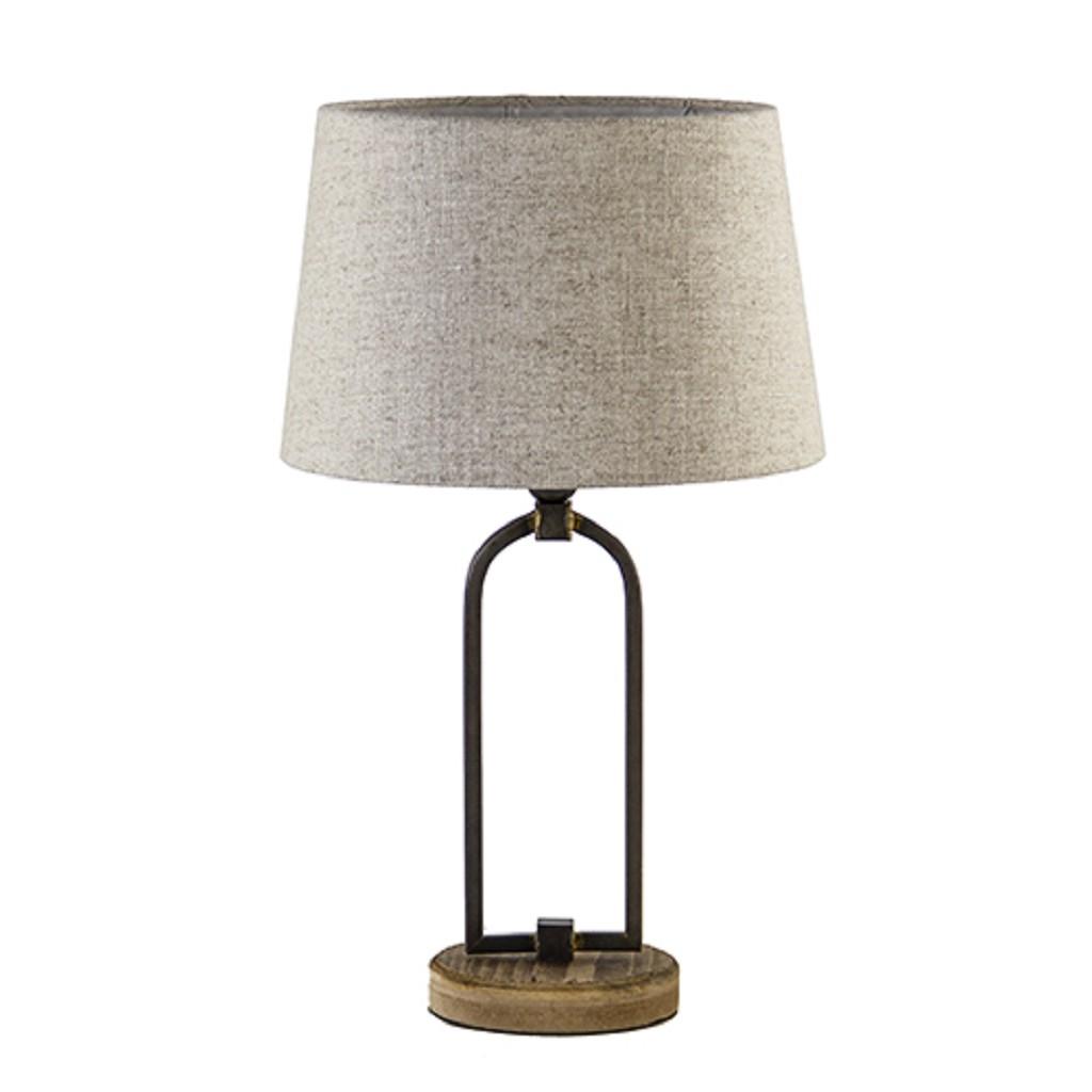 Landelijke tafellamp zwart met hout