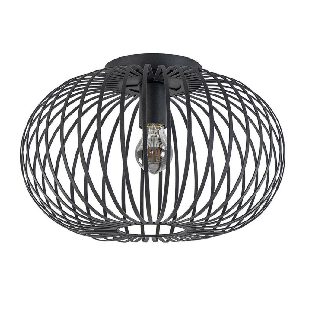 Plafondlamp donut 40cm open draad zwart