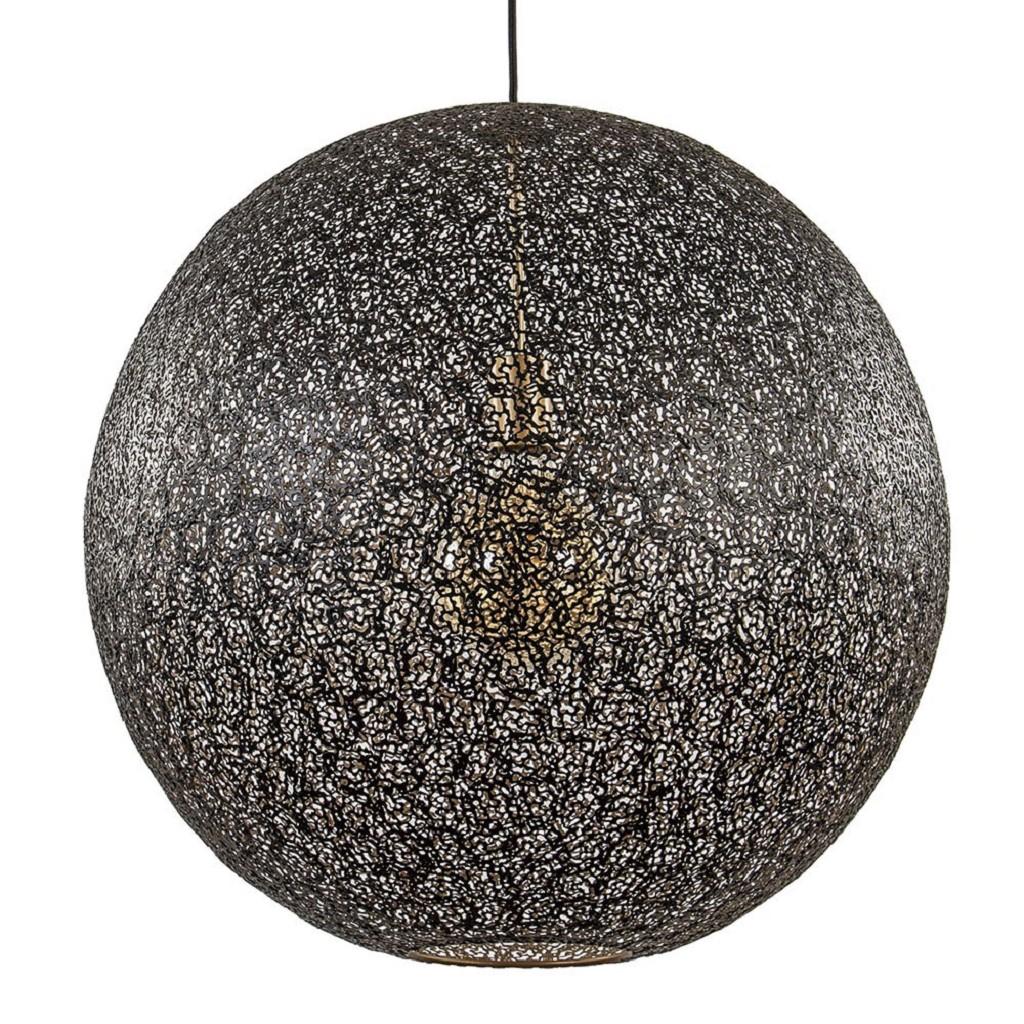 Chique metalen hanglamp bol zwart/goud 60 cm