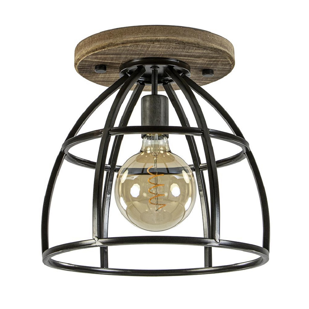 Industriële plafondlamp kooi black steel