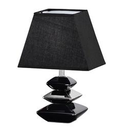 Zwarte tafellamp met chroom nachtkastje