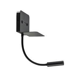 Zwarte LED wandlamp met verstelbare spot en USB