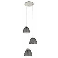 Hanglamp rond 3-lichts zwart draad/glas