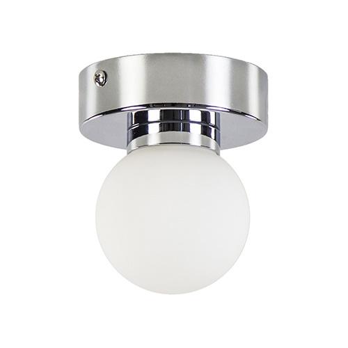 Wand/plafondlamp bol opaal/chroom IP44
