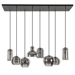 Hanglamp 8L multipendel zwart + smoke glas mix