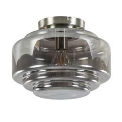 Plafondlamp nikkel + smoke glas