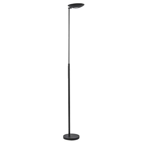 Moderne uplighter zwart met dimbaar LED