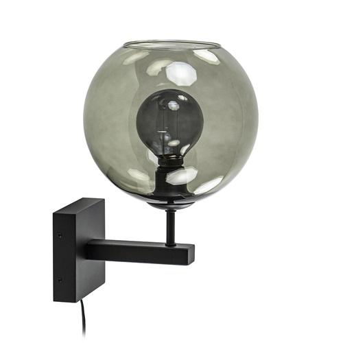 Moderne wandlamp met smoke glazen bol incl. snoer