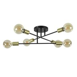 Plafondlamp Sticks 6L zwart/goud