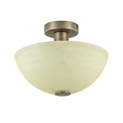 Klassieke plafondlamp brons met vanille glazen kap