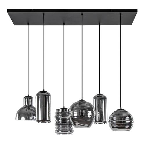 6-Lichts eettafelhanglamp met smoke/titanium glas