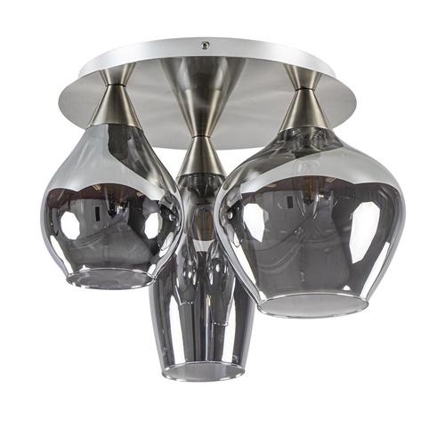 Stijlvolle plafondlamp nikkel mat met smoke glas