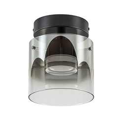 Plafondlamp Salerno zwart/smoke glas