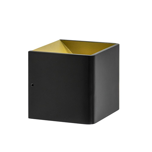 LED wandlamp kubus mat zwart met goud